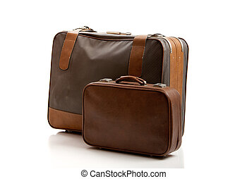Old Suitcases - Old leather suitcases, isolated on white...