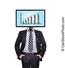 monitor with chart for a head - businessman and monitor for...