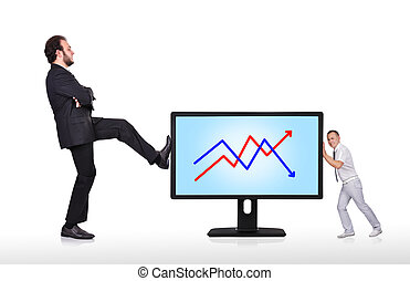 big monitor with chart - two businessman pushing big monitor...