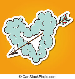 Cloud heart with arrow. - Paper sticker imitation. Vector...