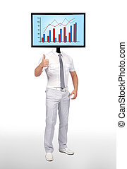 chart - businessman and monitor with chart for a head