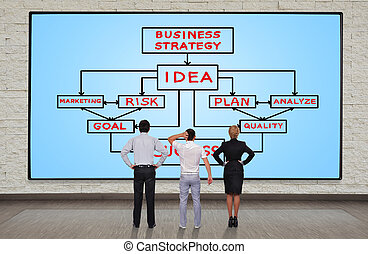 business plan - businesspeople looking at plasma panel with...