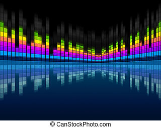 Blue Soundwaves Background Means Musical Frequencies And...