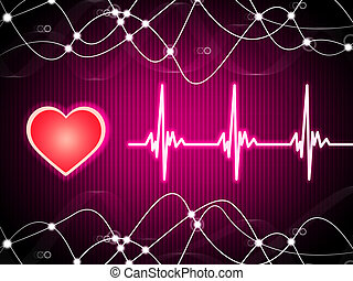 Purple Heart Background Means Heart Rate Fitness And Double...