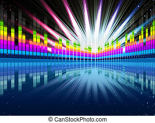 Colorful Soundwaves Background Shows Music Frequencies And...