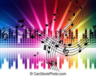 música, cores, fundo, meios, cantando, tocando, ou,...