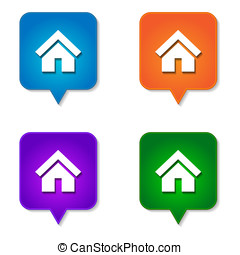 Home icon 4 options - Home icon website button pointing down...
