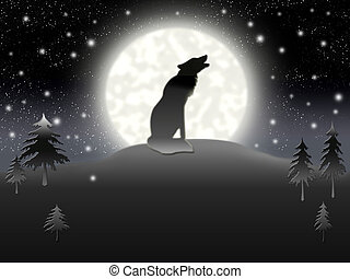 Solitary wolf sitting on background of the moon