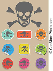 Skull and bones warning sign - vector