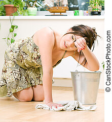 housewife - bright picture of lovely housewife cleaning...