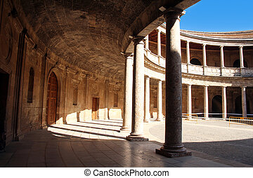 courtyard of the Palace of Charles V in La Alhambra,...