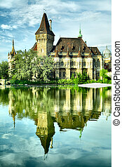 Vajdahunyad castle reflects in the lake, Budapest, Hungary