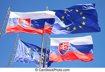 Flags of EU and Slovakia - Flags of European Union and...
