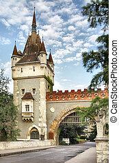 Vajdahunyad castle - Gate of Vajdahunyad castle in Budapest,...