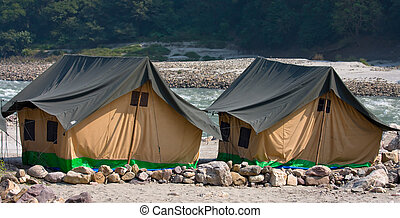 Camp on the Ganges River. India. - Camp on the banks of the...