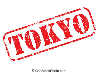 TOKYO red stamp text on white