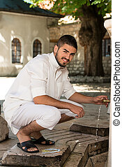 portrait, de, jeune, arabe, Saoudien, Emirats, homme