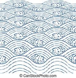 Blue waves of sea Line Thai Art Vector Illustration