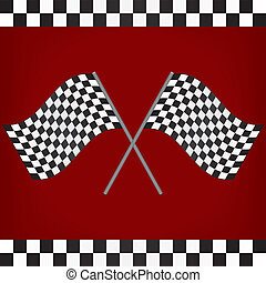 Crossed Racing Checkered Flags