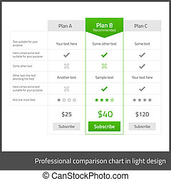 Comparison table for 3 products in light flat design with...
