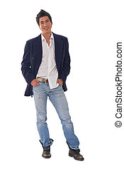Fashion man - Young male fashion model on white backgrounds