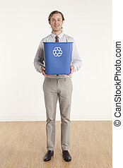 Alternative wastebasket - portrait of professional man...