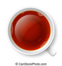 Cup of tea - Cup of black tea over white background Top view...