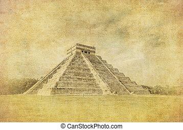 el, pirámide, vendimia, imagen, o, Kukulkan, Castillo,...