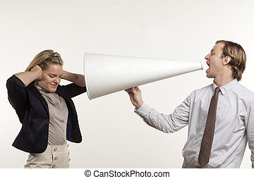 I cant hear you - business man yelling through megaphone at...