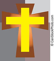 Yellow Jesus Cross on Two Tone Back - Vector of Yellow Jesus...