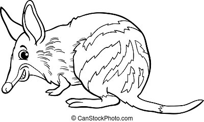 bandicoot animal cartoon coloring book - Black and White...