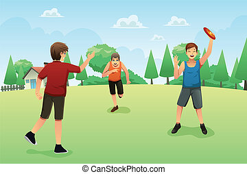 Young people playing frisbee - A vector illustration of...