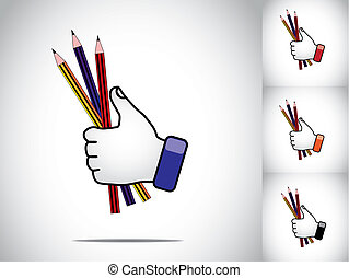 thumbs up hand illustration symbol with color pencils study art. different colored human hands with colorful pencils - education or study or learning at school or college concept illustration art set