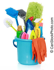 cleaning supplies in bucket - Plastic bucket with cleaning...
