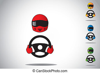 colorful racing car driver helmet with hands on steering...
