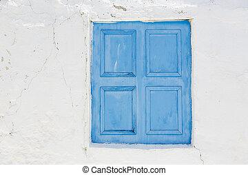 fechado, pintado, Janela, venezianas, Grécia
