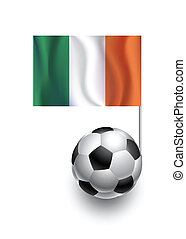 Illustration of Soccer Balls or Footballs with  pennant flag of Ireland country team