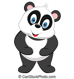 cute baby panda smile of vector