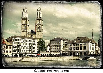 Zurich across Limmat river - Vintage photo of Zurich