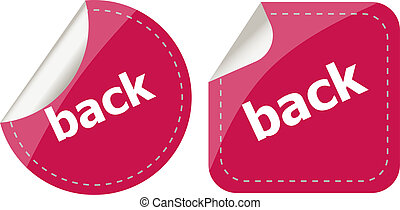 back word on stickers button set, label