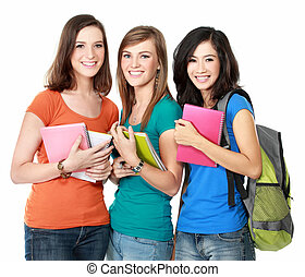 female student together - Portrait of a three young students...