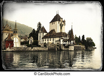 Oberhofen Castle on the lake of Thun, Switzerland - Vintage...