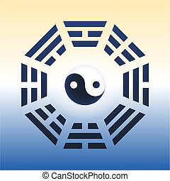 I Ching Trigrams - I Ching with eight trigrams and the yin...