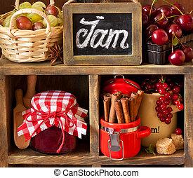 Ingredients. - Ingredients for cooking jam. Fresh berries,...