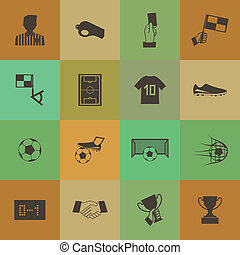 Retro style Soccer football icons vector set.