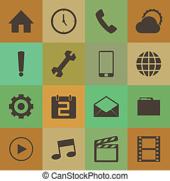 Retro style mobile icons vector set.