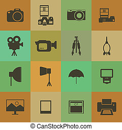 Retro style Camera and accessory icons vector set.