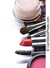 Various cosmetics isolated over white - Various cosmetics...
