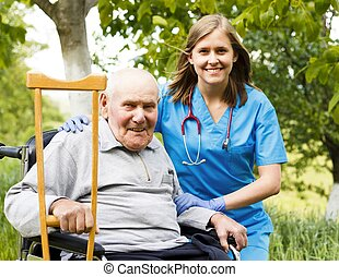 Happy Senior Man - Happy old patient with supporting doctor...