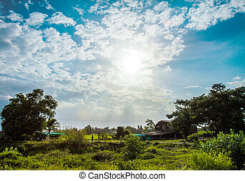 shining sun with lens flare Blue sky with clouds in rural...